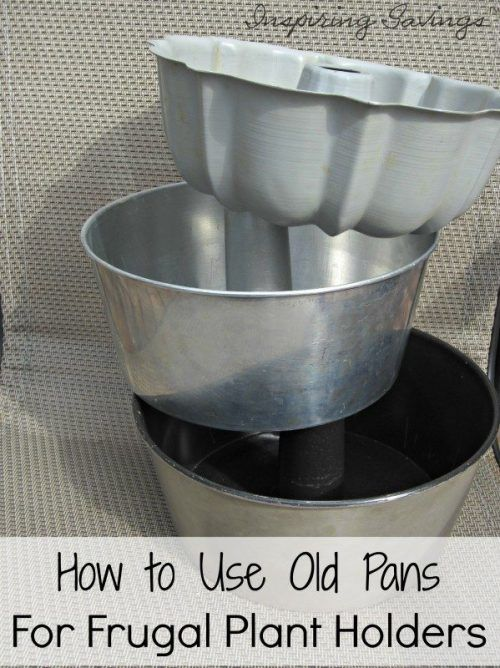 Learn how to transform old pans into planters for your porch, patio, deck and more with this Frugal DIY Plant Holder tutorial. They're the perfect statement piece to plant and display indoor house plants too. You can decorate your entryway, foyer or office with DIY plant holders. Recycling old pans to make a beautiful summertime piece. #flowers #plants #gardening