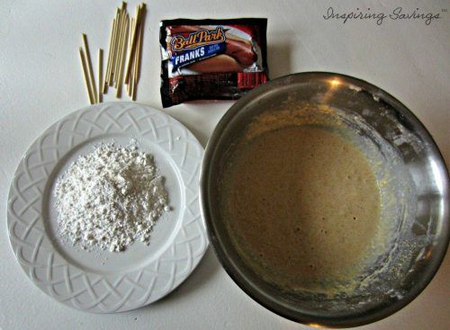 ingredients for homemade corn dog batter