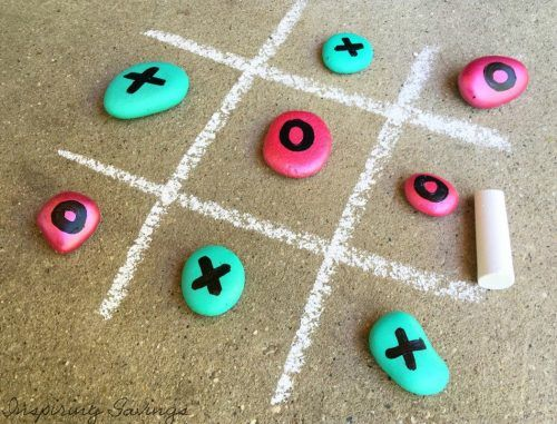 Game of tic Tac toe with painted rocks