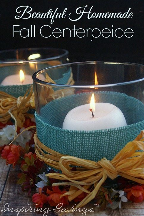 A beautiful homemade Fall centerpiece is the perfect way to celebrate the season and any DIYer's dream. Make a beautiful fall centerpiece for your home. Using colored burlap, glass candle holder and round candles your tablescape will be ready.  #candle #decor #falldecor #burlap