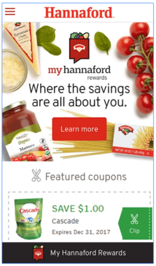 Hannaford store app coupons on smartphone