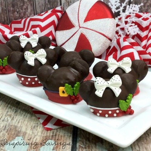 Finished dipped in chocolate Mickey & Minnie Cake Balls