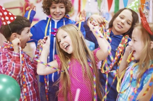Children dancing at a birthday party