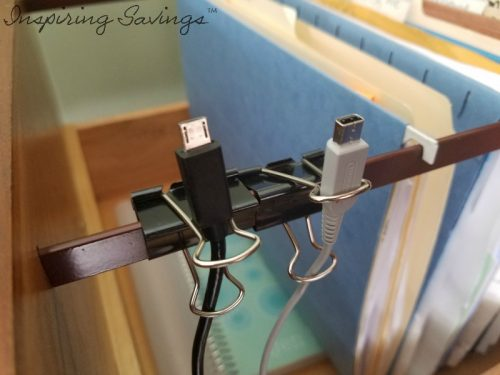 Binder clips as cord organizers