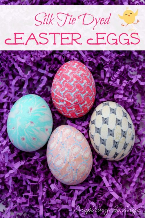 Silk tie-dyed Easter eggs are so much fun to make and way less messy than buying a dying kit or using vinegar and food coloring! Make beautiful looking dyed Easter Eggs with this easy DIY Silk Tie Easter Eggs Tutorial. All you need is some old silk ties, hard boiled eggs, and Vinegar.