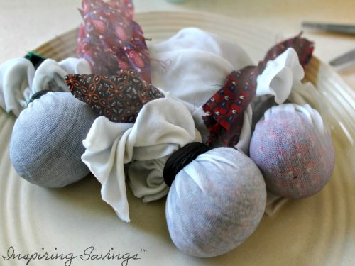 Hard boiled eggs wrapped in silk ties