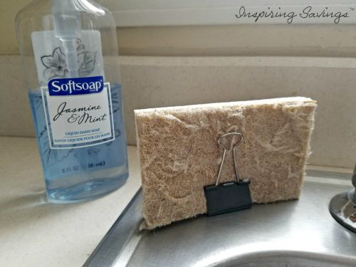 Binder clip holder for sponge