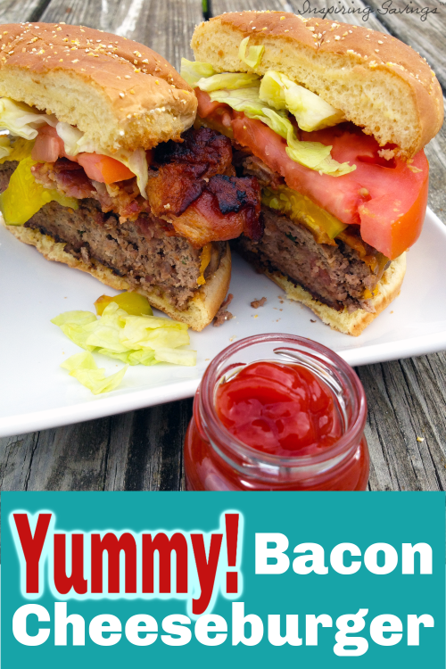Bacon Cheeseburger with ketchup on white plate