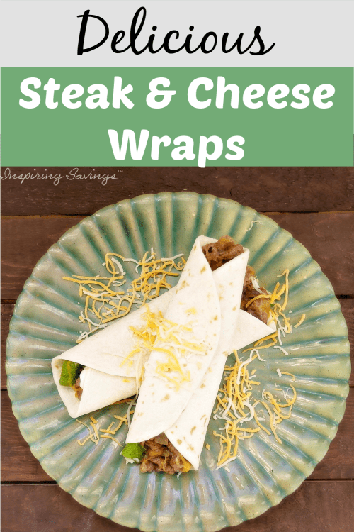 Steak & Cheese wraps on green dinner plate
