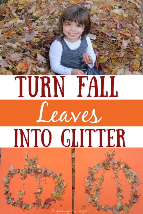 Collage of pictures using fall leaves to create leaf glitter