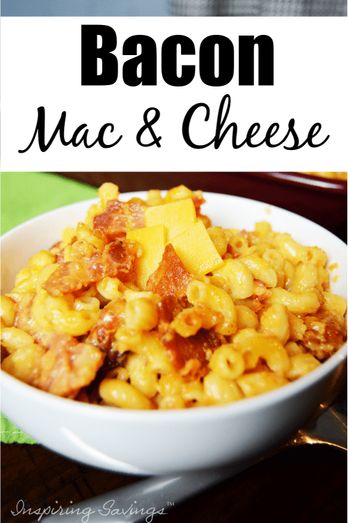 Bacon Mac & Cheese in White Bowl
