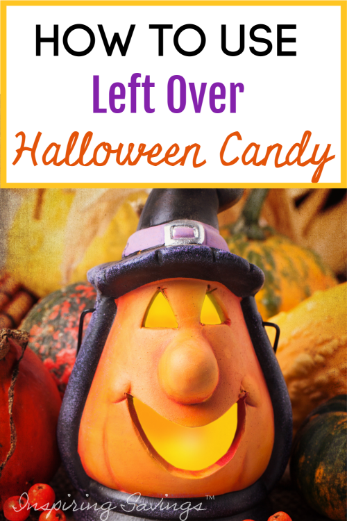 How to Use Leftover Halloween candy - carved pumpkin