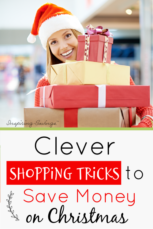 Woman Shopping with santa hat on - Clever Shopping Tricks to save money on Christmas