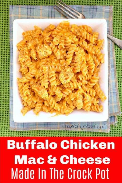 Buffalo Chicken Mac and Cheese is a great dish that is super easy to make in your Slow Cooker! Everyone loves this spicy and savory dish for dinner! Time to pull out your crock pot. Sprinkle blue cheese crumbles, green onions, and more hot sauce on top for extra flavor.
