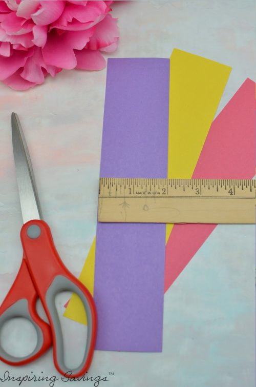 Measuring construction paper strips