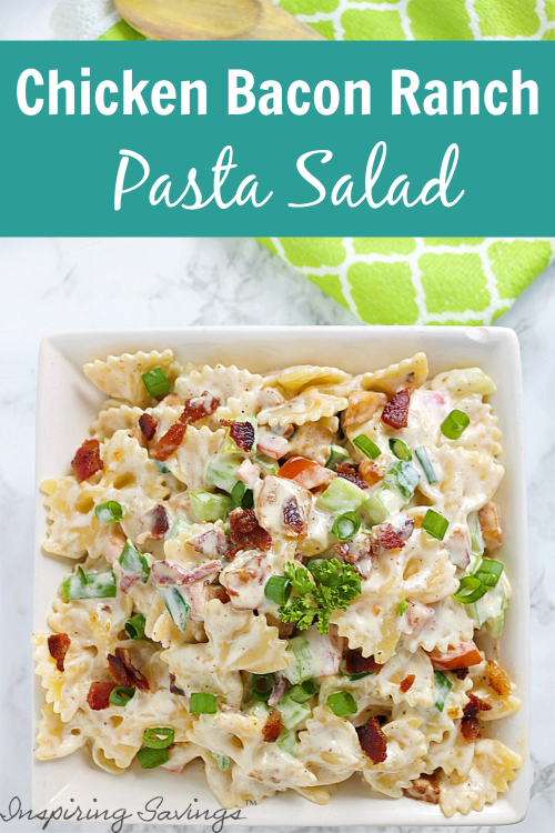 Ranch Pasta Salad is kicked up with the addition of chicken and bacon. This Chicken Bacon Ranch Pasta Salad is a meal in itself! It is cool and refreshing with a delicious, creamy Ranch dressing, making it a summer staple for outdoor picnics and parties.