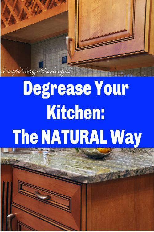 Don't miss our tips for How To Clean Kitchen Cabinets With an All Natural Kitchen Degreaser! This will remove dirt, grease, and grime from cabinets fast! Making deep cleaning your kitchen better. Easy Spring cleaning prep.