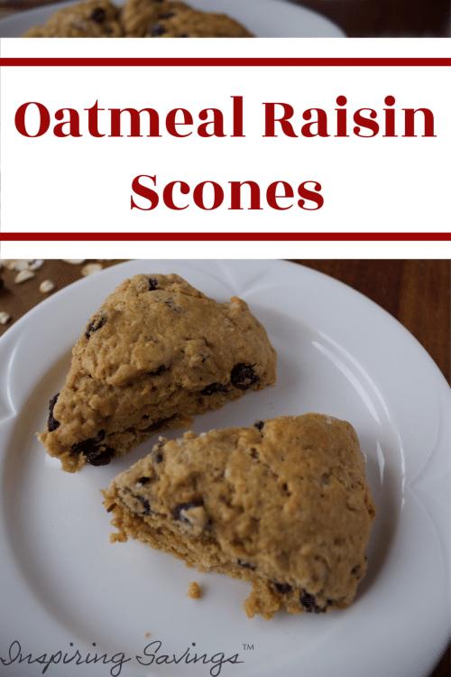 Oatmeal Raisin Scones on White plate