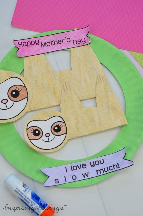 Adding in details to Mother's day card - Sloth with mother's day banners
