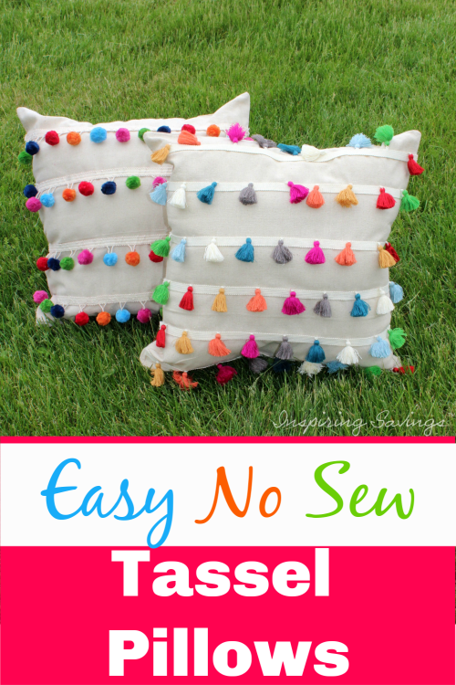 tassel pillows propped up on green grass