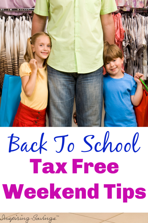 Two Children stand with father - back to school Tax Free Weekend