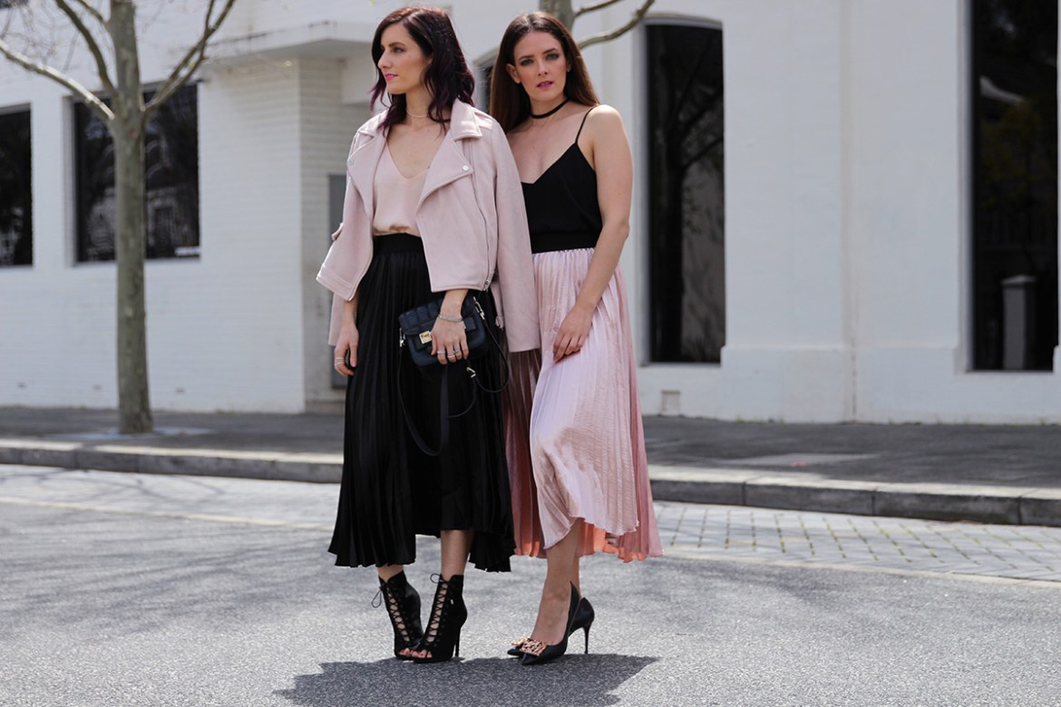 Perth fashion bloggers She Does (left) @shedoestyle and Inspiring Wit (right) @inspiringwit in the pleated metallic skirts from Hello Parry #metallicskirt #streetstyle #australianfashionbloggers