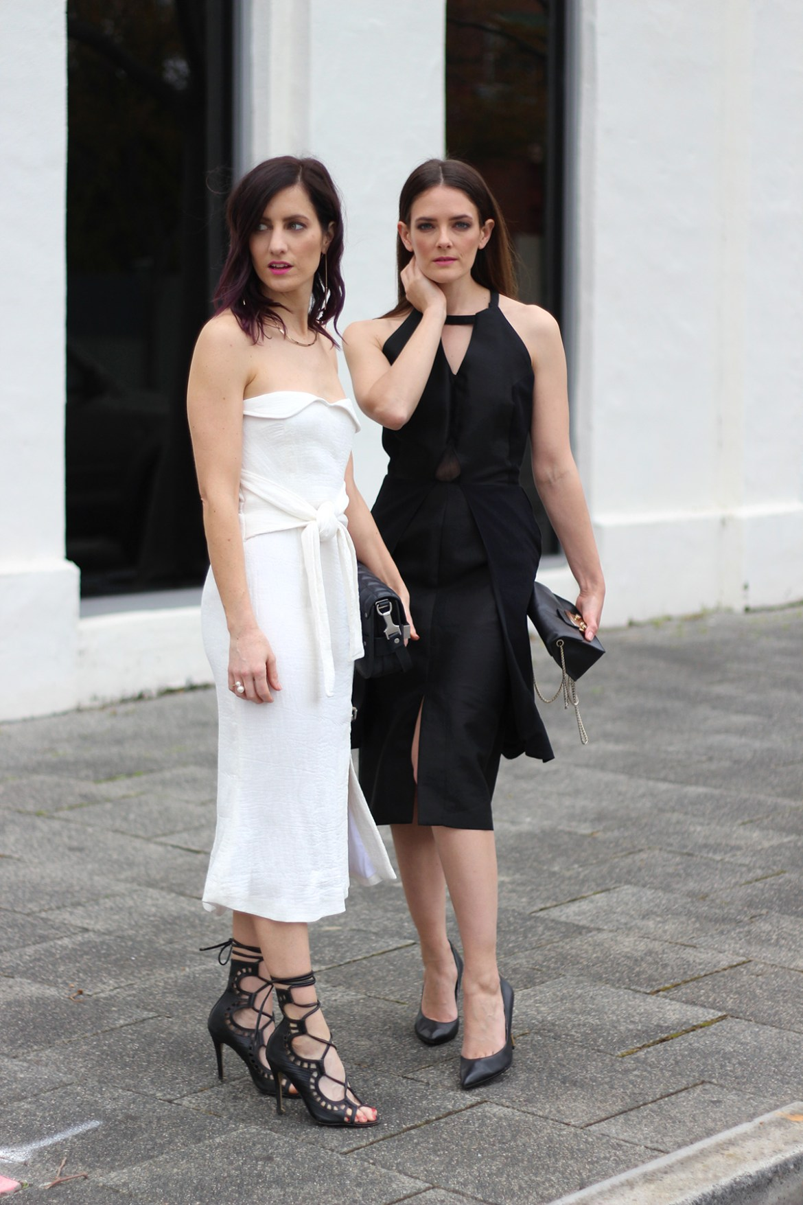 Perth fashion bloggers She Does (left) @shedoesstyle and Inspiring Wit (right) @inspiringwit in Wild Horses for fashions on the field #springracing #minimal #stylebloggers