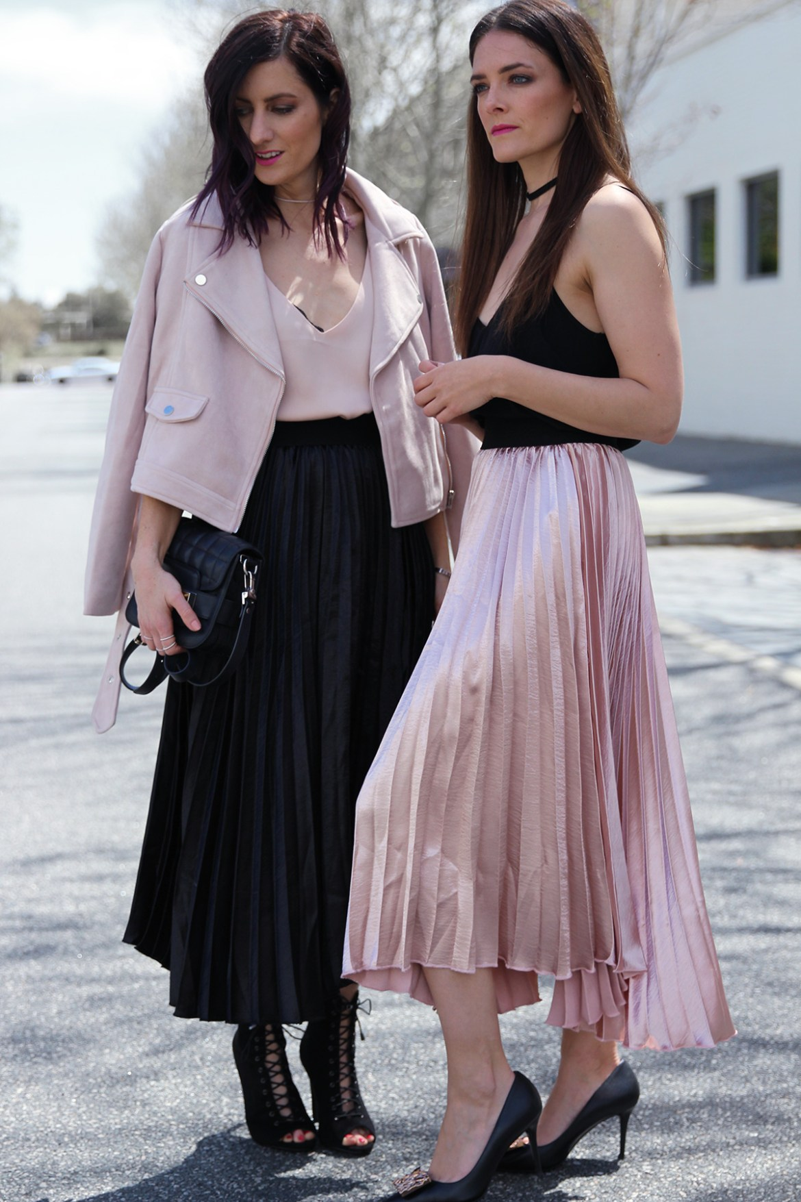 Perth fashion bloggers She Does (left) @shedoestyle and Inspiring Wit (right) @inspiringwit in the pleated metallic skirts from Hello Parry #metallicskirt #perthblog #fashionbloggers