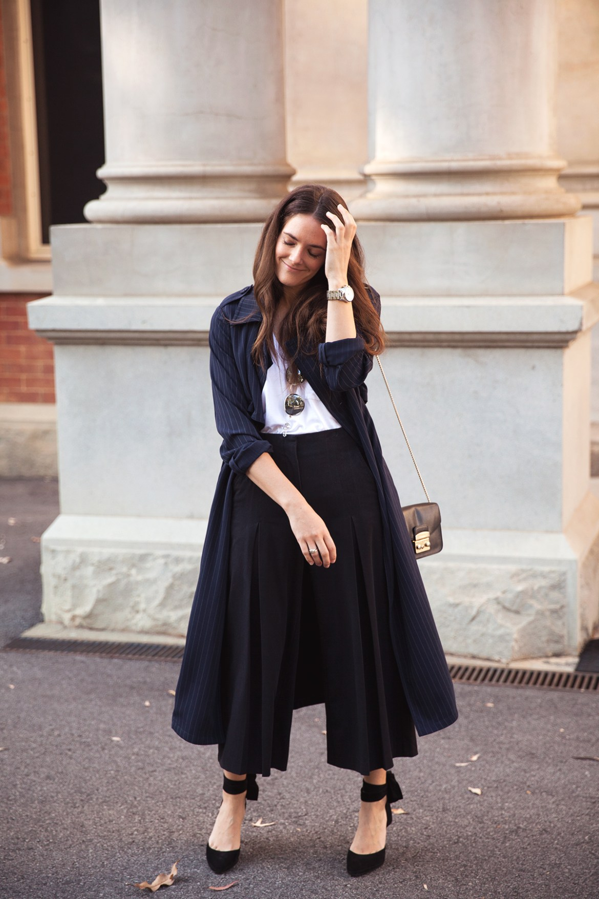 Navy trench coat Inspiring Wit street style
