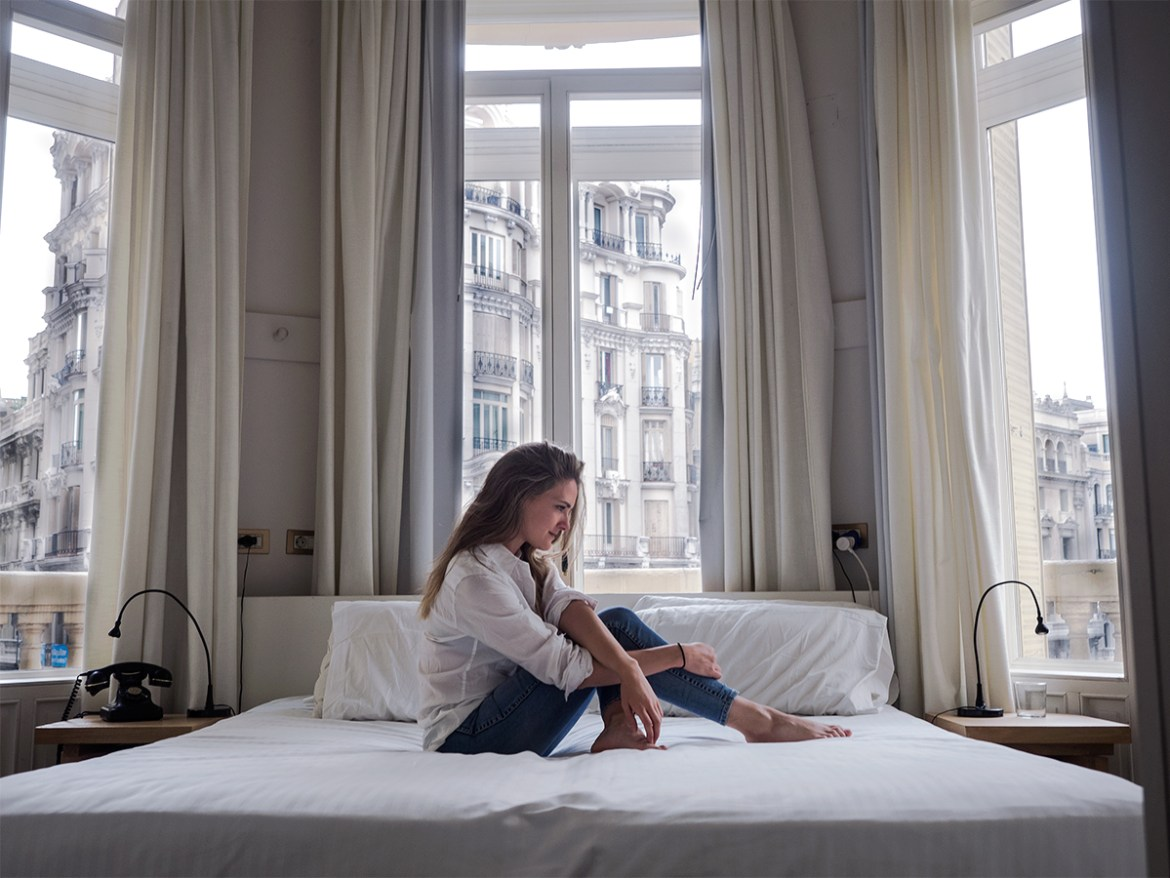 the most epic bedroom view in Madrid with Inspiring Wit travel blogger from Australia