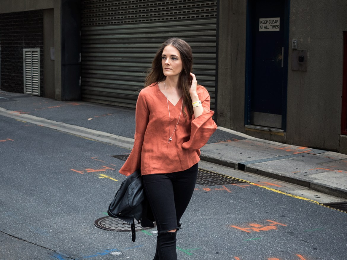 Seed Heritage autumnal flared sleeve top with leather jacket street style Australian blogger, Inspiring Wit fashion blog