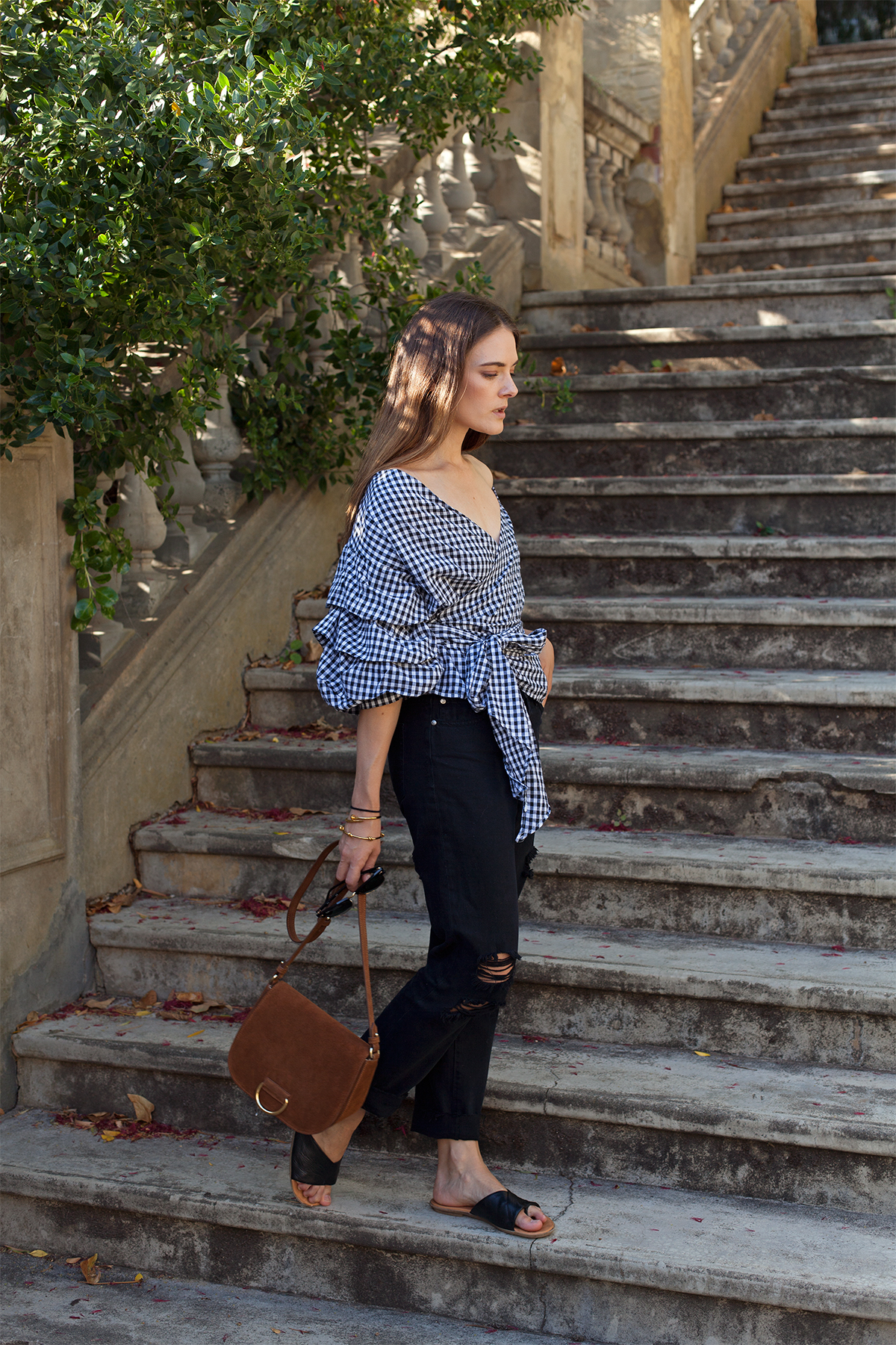 gingham ruffle sleeve top and boyfriend jeans, worn by inspiring wit Australian fashion blogger