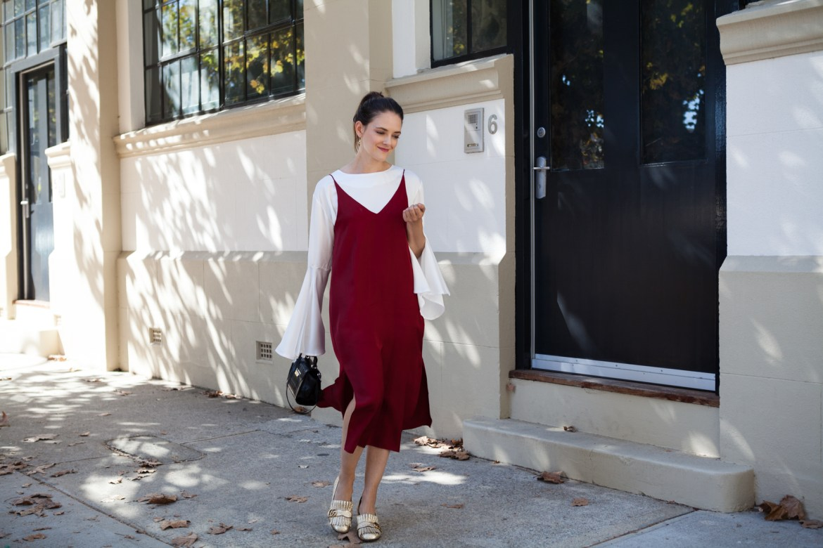 red fashion focus, Grana slip dress, Hello Parry flared sleeve top, worn by Jenelle of Inspiring Wit blog Australian style blogger