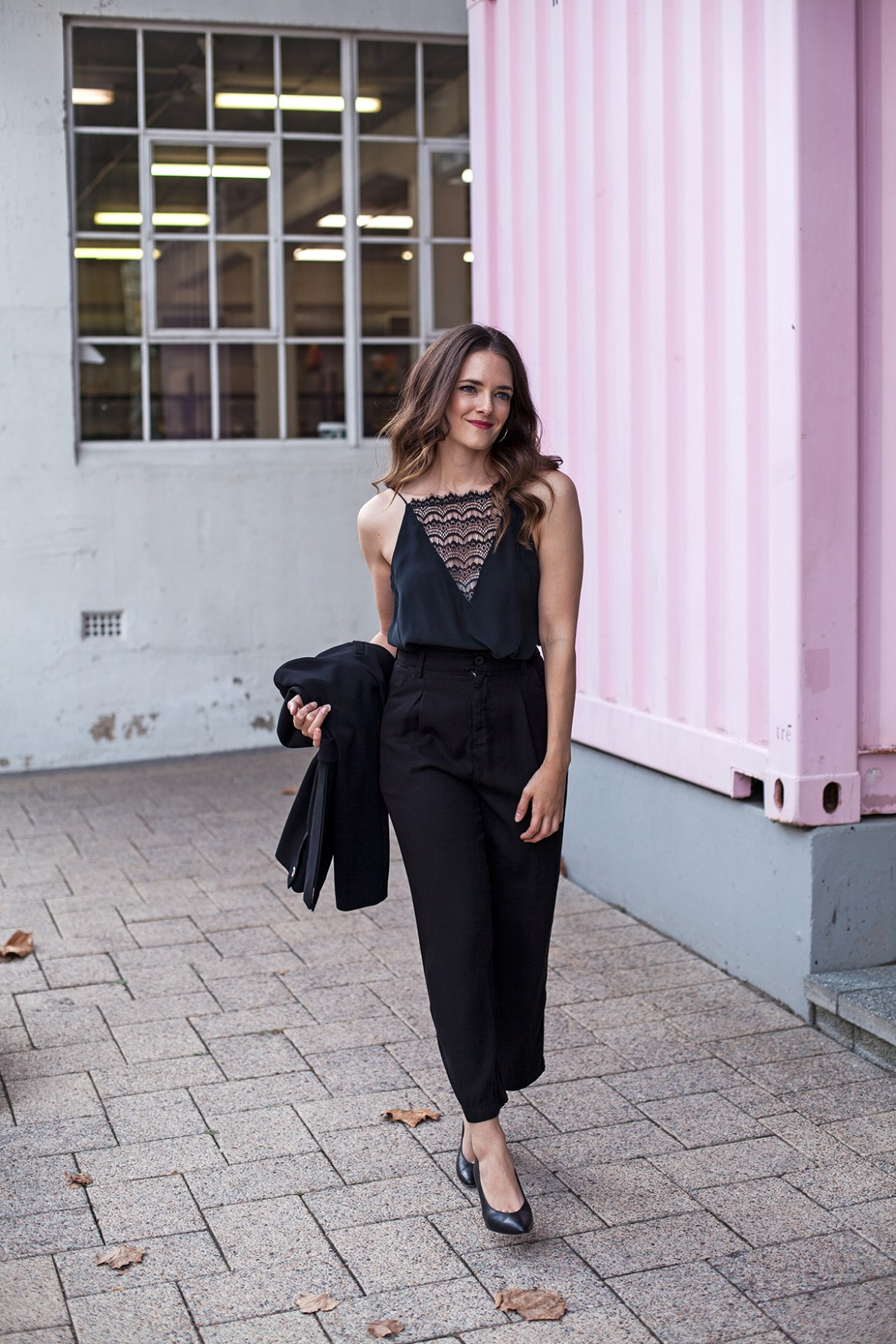 black lace camisole and crop trousers street style outfit worn by Jenelle Witty from Inspiring Wit, an Australian personal style blog. For City of Perth winter fashion at Periscope boutique