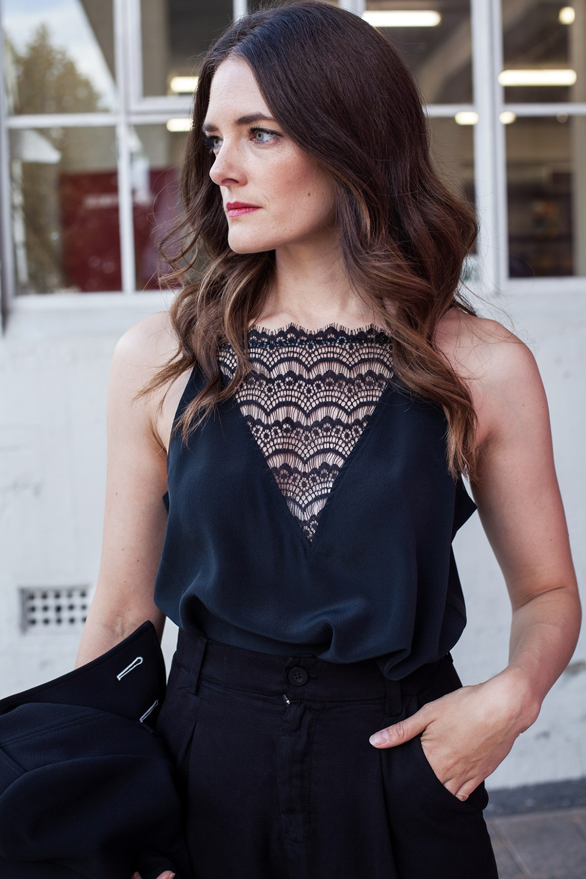lace detail camisole worn by Jenelle Witty from Inspiring Wit, an Australian personal style blog. For City of Perth winter fashion at Periscope boutique
