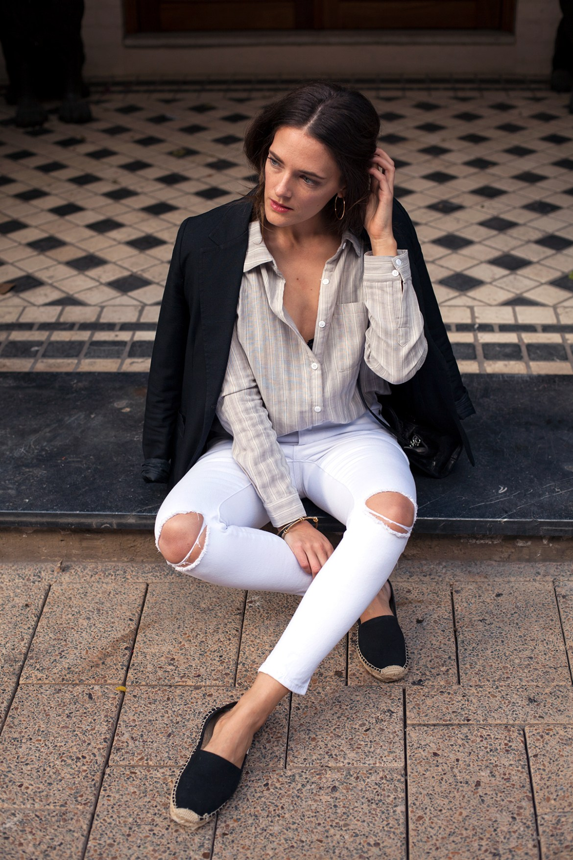 By The Weekend stripe cotton shirt worn by Inspiring Wit fashion blogger
