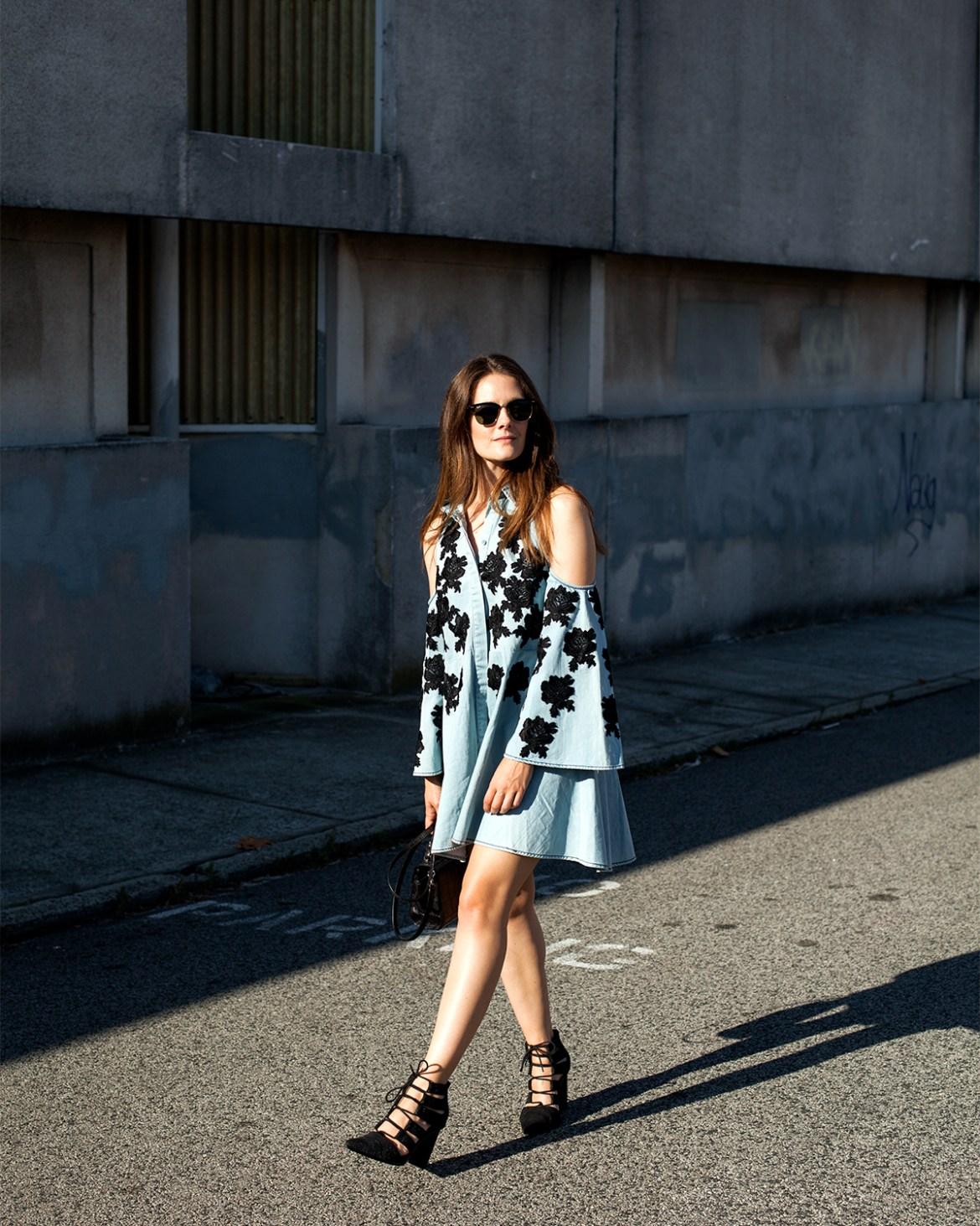 Untold mini dress Isla the Label from Byron Bay, worn by Australian fashion blogger Inspiring Wit embroidered roses denim dress, Senso heels