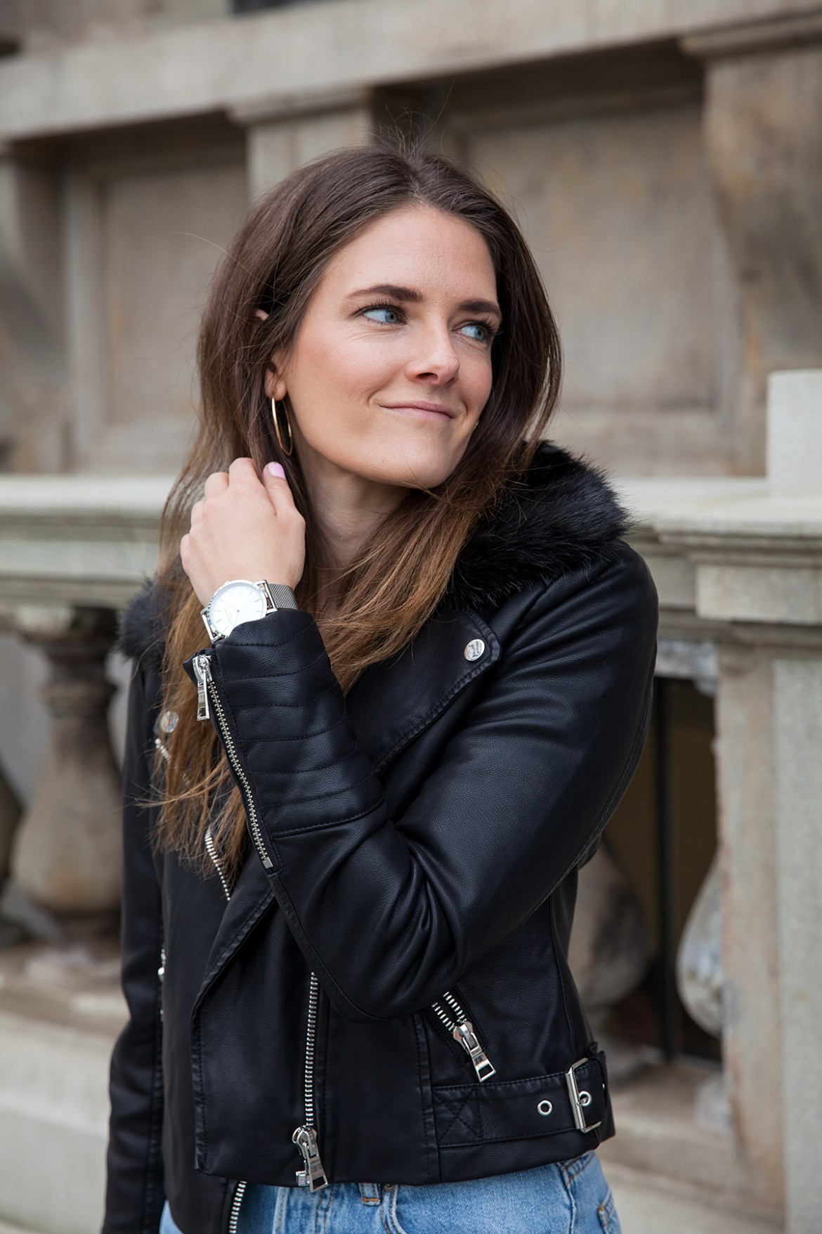 Forever New faux fur collar biker jacket. Winter looks styled by fashion blogger Inspiring Wit