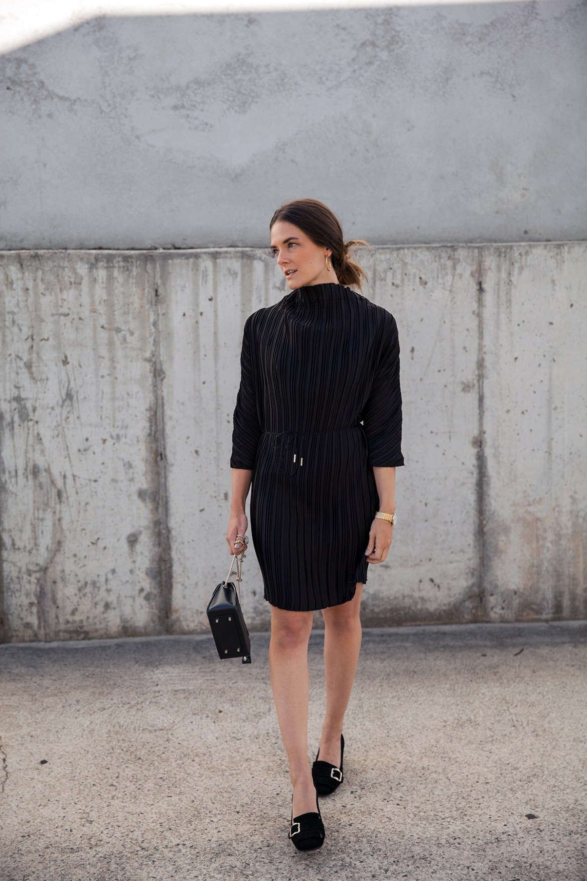 Third Form Rolling Winds black Dress worn by Australian fashion blogger Inspiring Wit