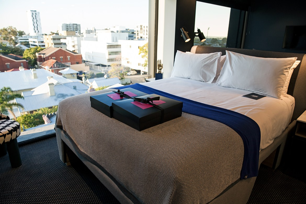 Tribe Hotel Perth room, Jenelle from travel blog Inspiring Wit boutique hotel profile