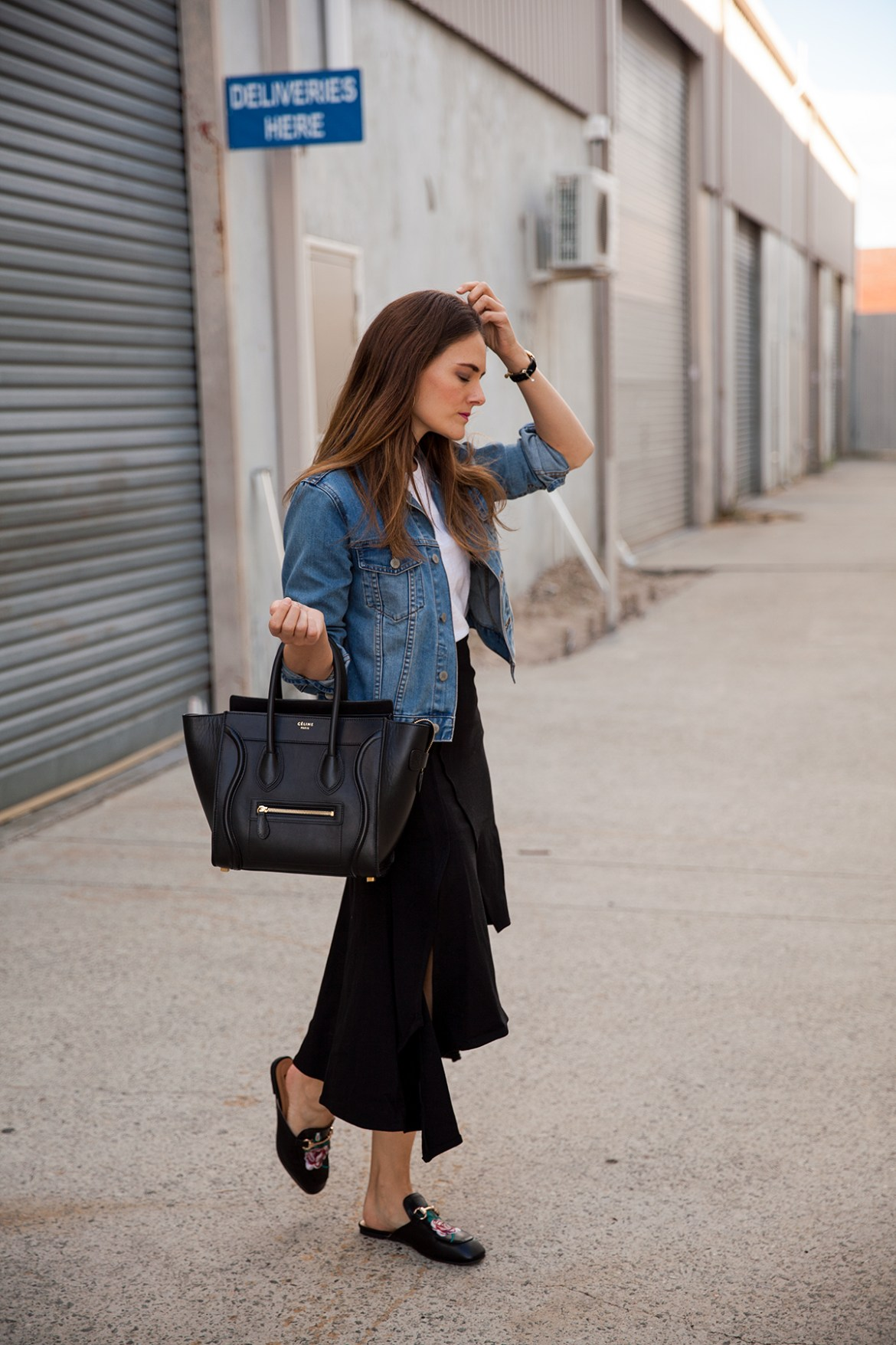 midi skirts, five reasons you need one, denim jacket, Celine tote, Hello Parry midi skirt worn by Inspiring Wit fashion blogger Jenelle Witty
