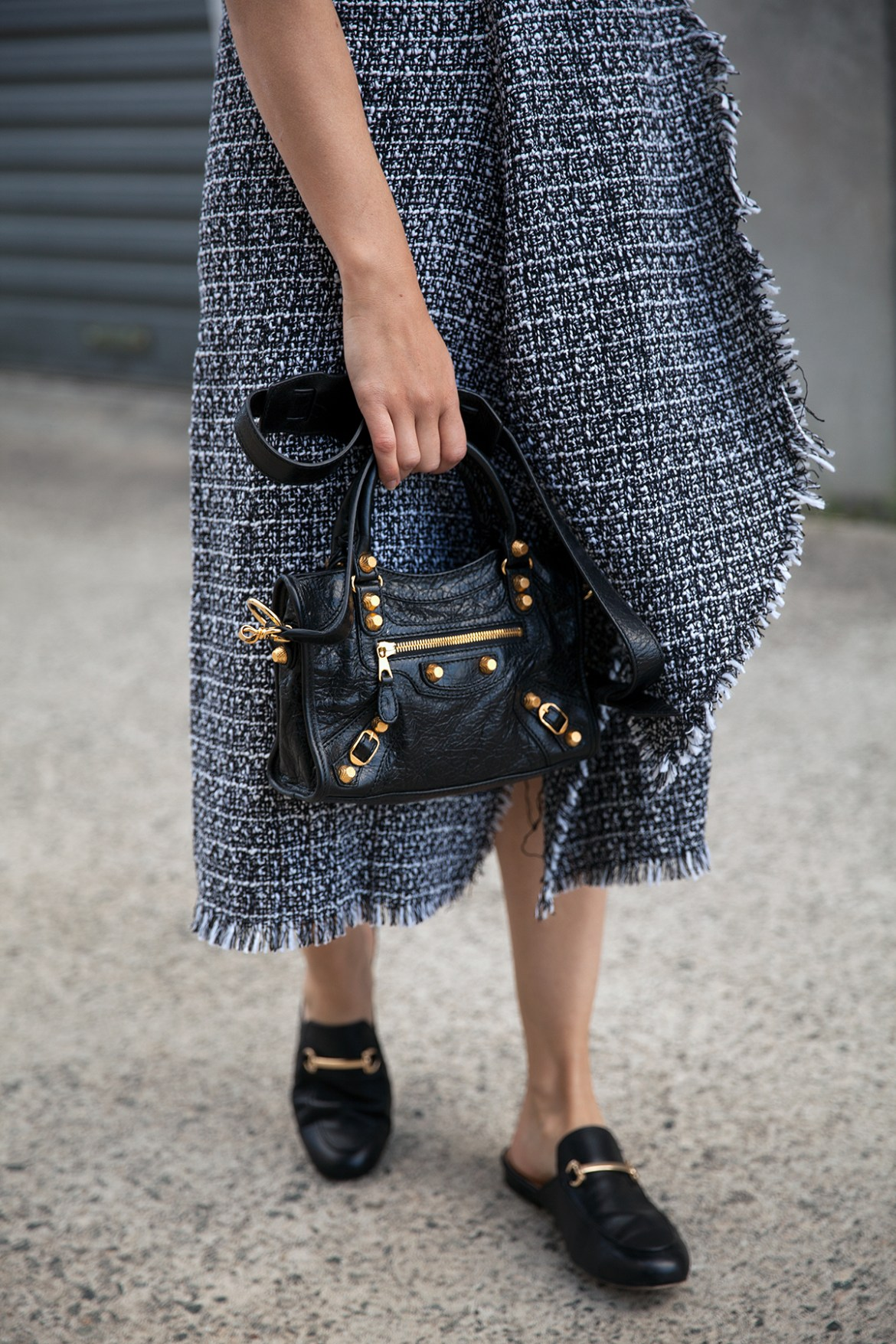 tweed midi skirt by Delphine the label worn by Jenelle of Inspiring Wit Balenciaga signature bag