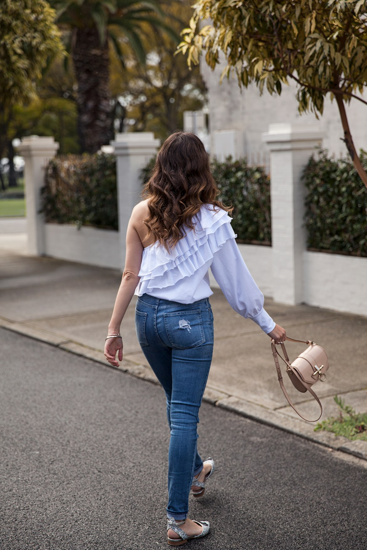 One shoulder ruffle top from Bohemian Traders