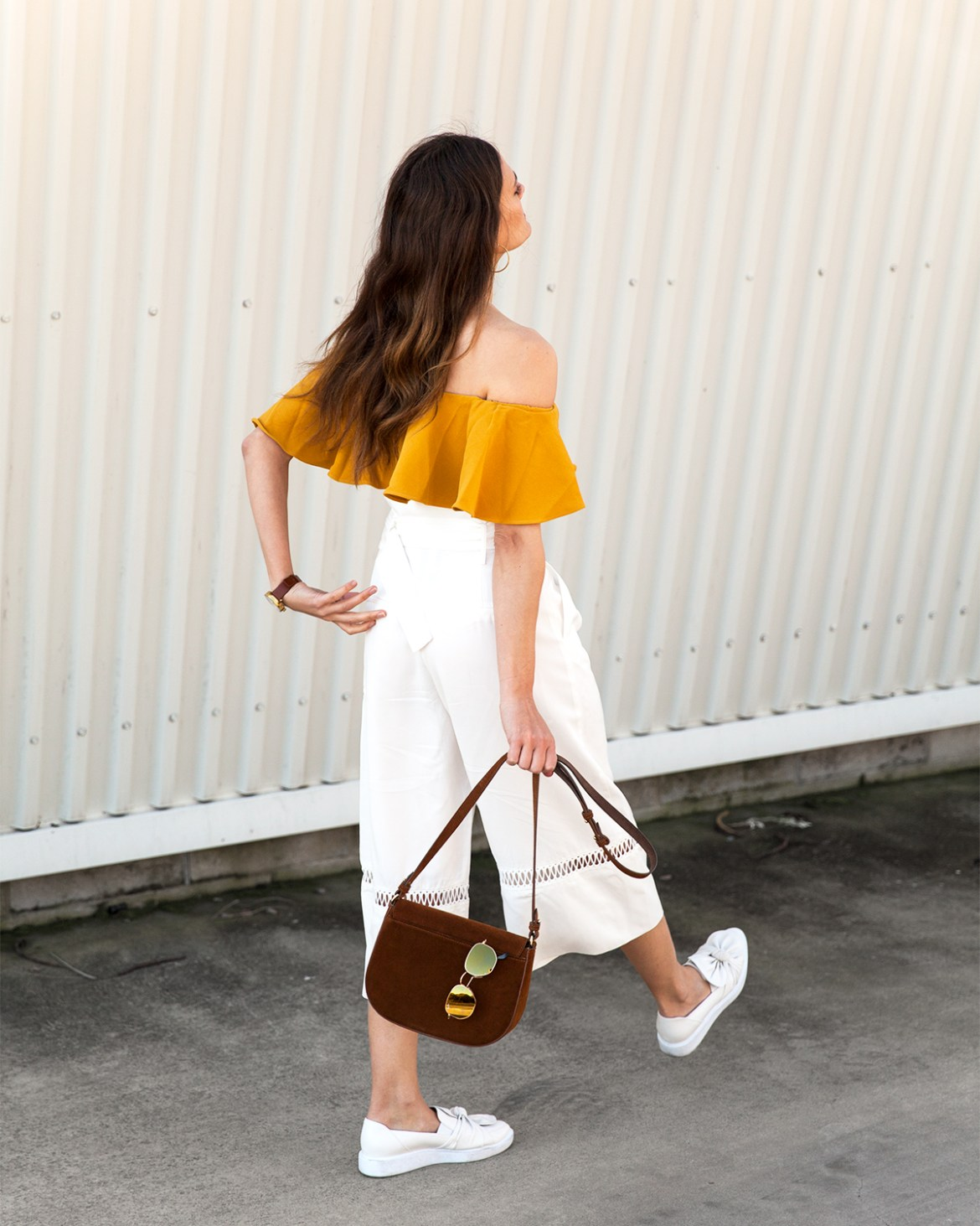 mustard ruffle off the shoulder top from Collate worn by Inspiring Wit blogger Jenelle