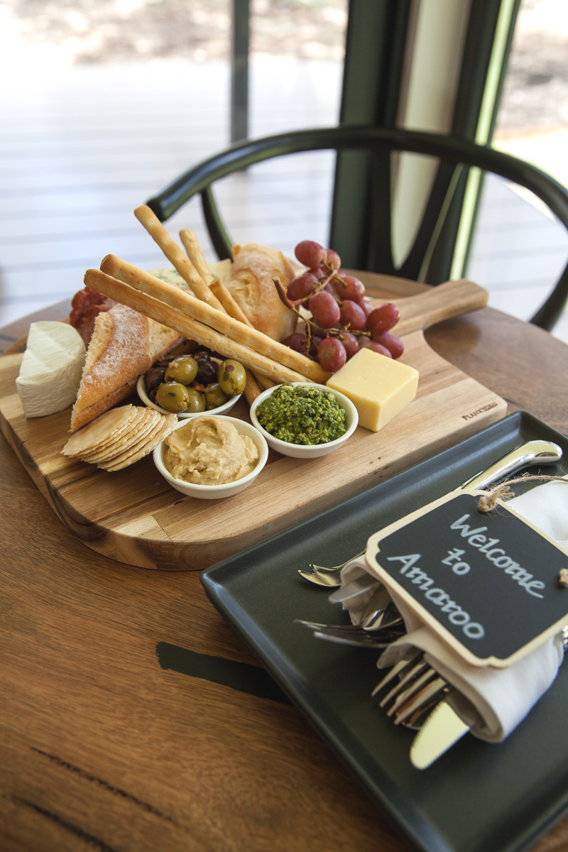 Inspiring Wit travel blog, visiting the new Amaroo Spa Retreat in the Perth Hills welcome platter wine and cheese board