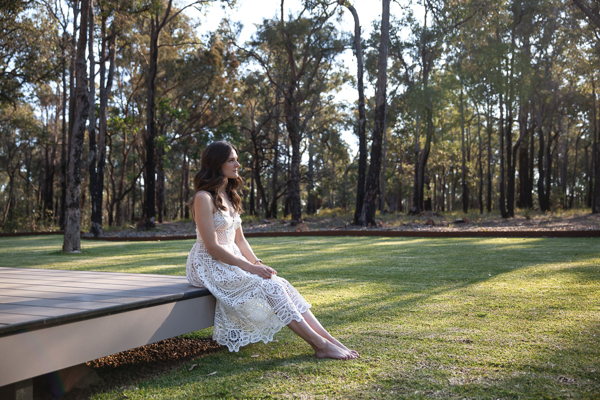 Inspiring Wit travel blog, visiting the new Amaroo Spa Retreat in the Perth Hills wearing white lace dress