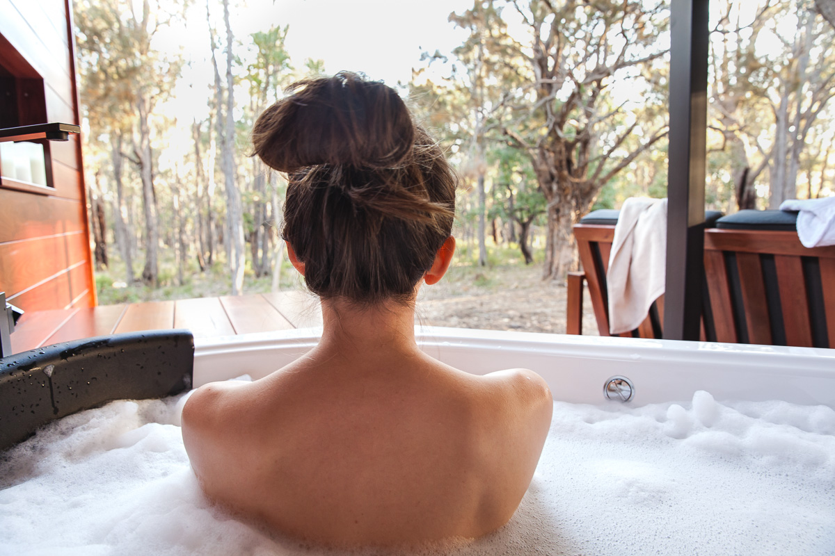 Inspiring Wit travel blog, visiting the new Amaroo Spa Retreat in the Perth Hills in the spa bath overlooking the bushland