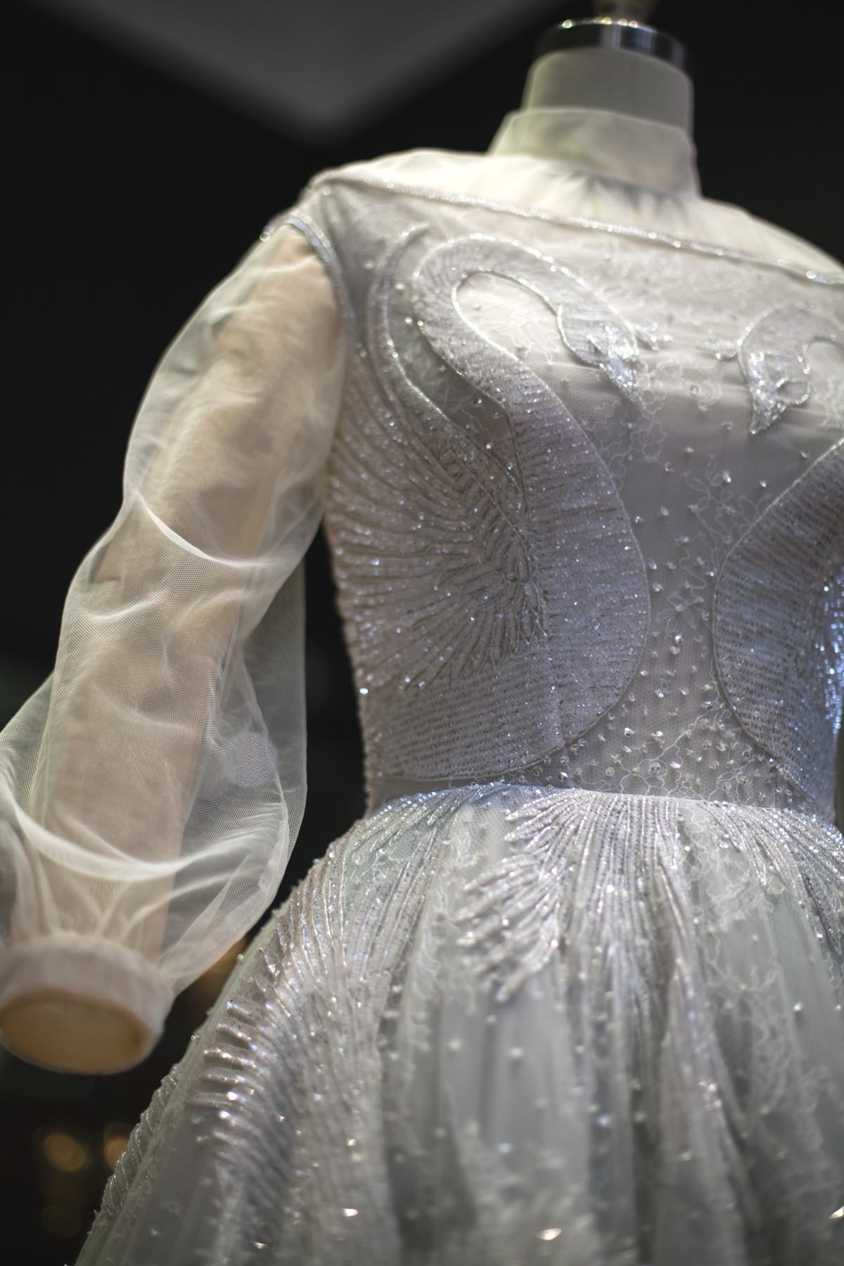 Paolo Sebastian exhibition at the art gallery of south australia dress swan detail beading