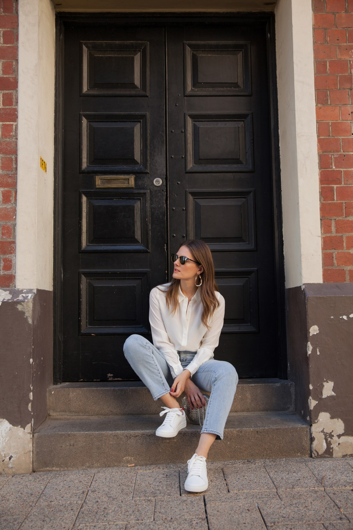 Boden silk shirt Abrand jeans and white sneakers worn by Inspiring Wit blogger Jenelle Witty
