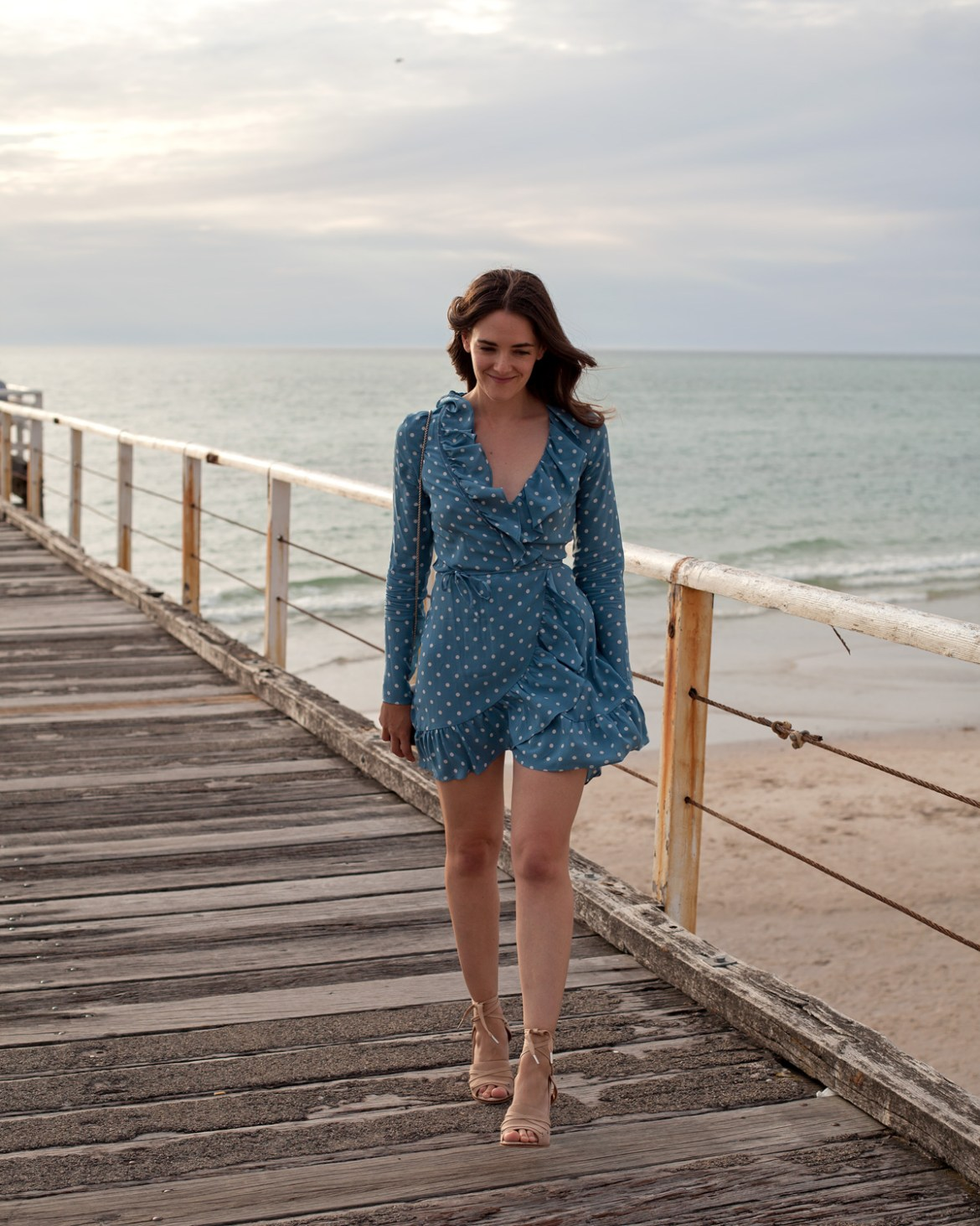Realisation Par the Alexandra dress in dusty blue spot worn by Inspiring Wit blogger Jenelle Witty
